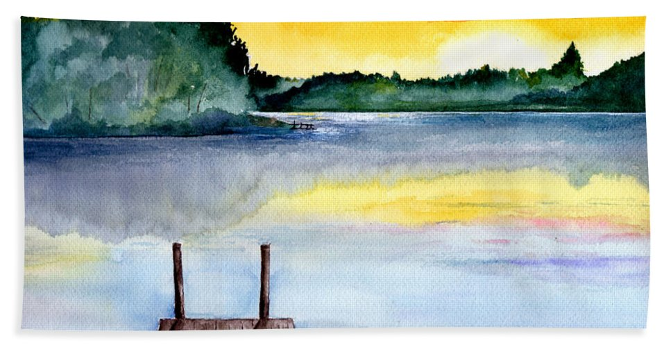 Watercolor Beach Sheet featuring the painting The Dock by Brenda Owen