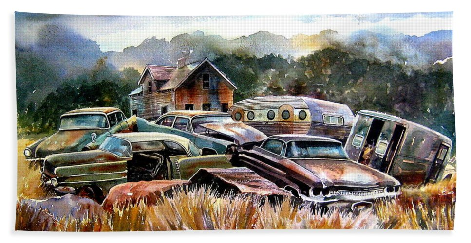 Old Wrecked Cars Beach Towel featuring the painting The Donor Cars by Ron Morrison