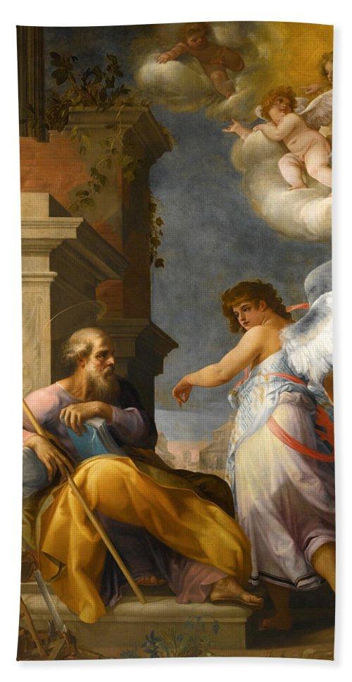 Giovanni Baglione Beach Towel featuring the painting The Dream Of Saint Joseph by Giovanni Baglione
