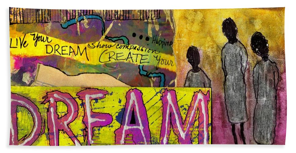 Acrylic Beach Towel featuring the mixed media The Dream Trio by Angela L Walker