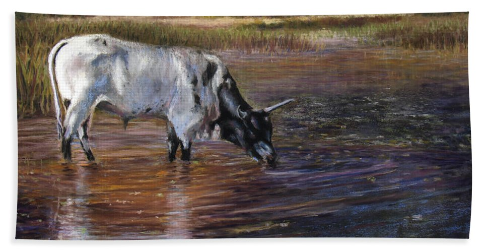 Cow Beach Towel featuring the pastel The Drink by Susan Jenkins