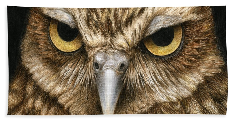 Owl Beach Towel featuring the painting The Dubious Owl by Pat Erickson