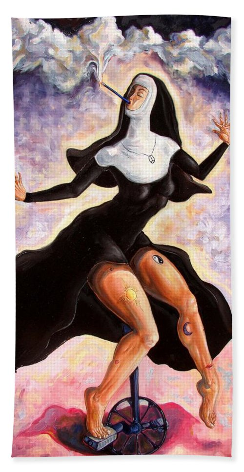 Surrealism Beach Towel featuring the painting The Ecstasy Of Mother Liberation by Darwin Leon