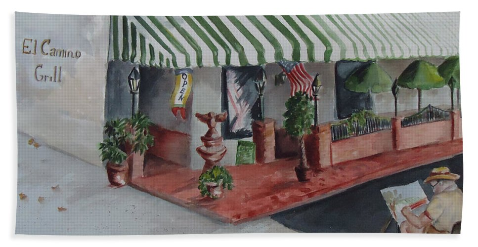 Grill Beach Towel featuring the painting The El Camino Grill by Charme Curtin