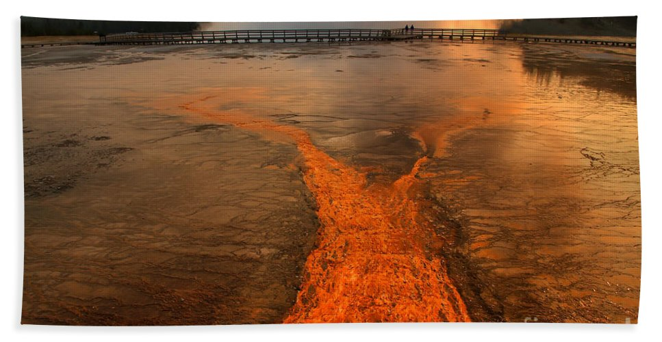 Grand Prismatic Spring Beach Towel featuring the photograph The Enchantment Of Grand Prismatic Spring by Teresa Zieba
