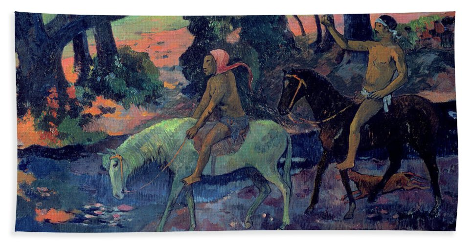 The Escape Beach Towel featuring the painting The Escape by Paul Gauguin