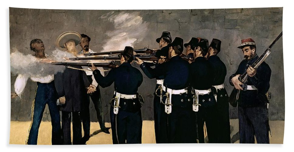 Manet Beach Towel featuring the painting The Execution Of The Emperor Maximilian by Edouard Manet
