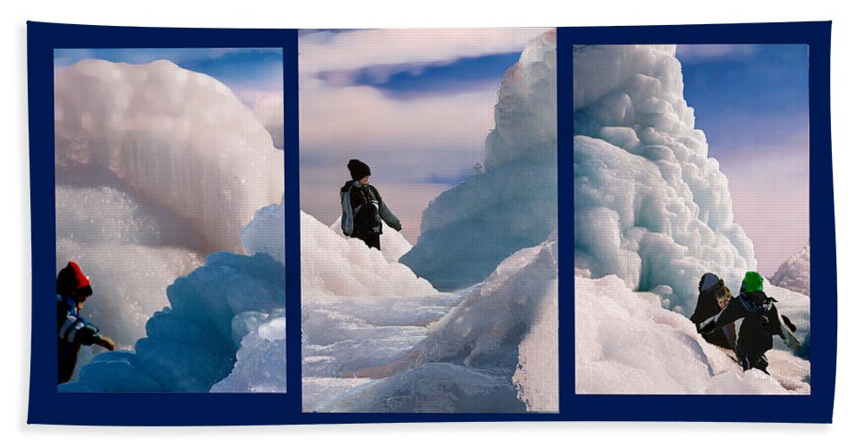 Landscape Beach Sheet featuring the photograph The Explorers by Steve Karol