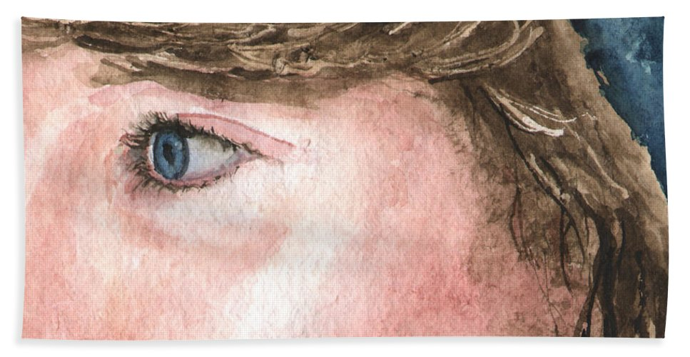Franci Beach Towel featuring the painting The Eyes Have It - Franci by Sam Sidders
