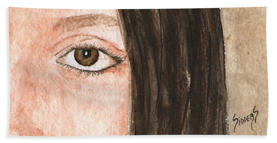 Face Beach Towel featuring the painting The Eyes Have It- Katelyn by Sam Sidders