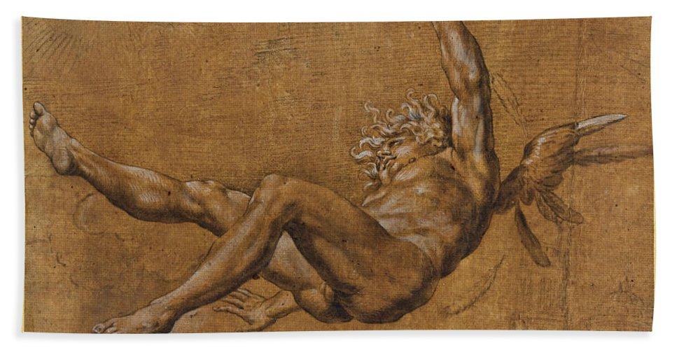 Giovanni Baglione Beach Towel featuring the drawing The Fall Of Icarus by Giovanni Baglione