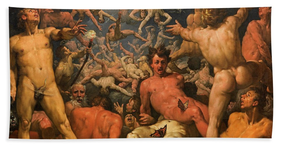 Cornelis Cornelisz.van Haarlem Beach Towel featuring the painting The Fall of the Titans by Cornelis Cornelisz van Haarlem
