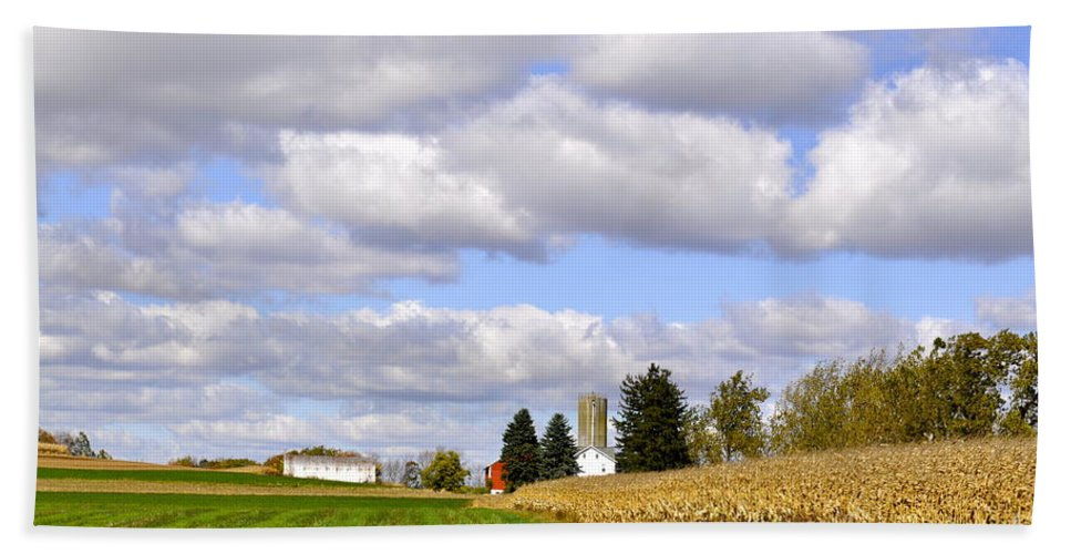Country Scene Beach Towel featuring the photograph The Farmers Fields by Penny Neimiller