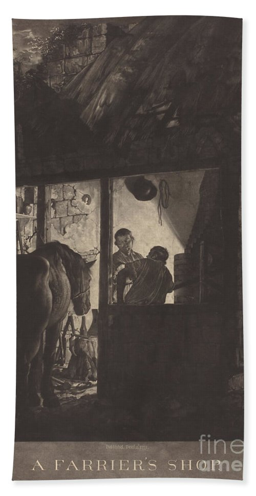 Beach Towel featuring the drawing The Farrier's Shop by William Pether After Joseph Wright Of Derby