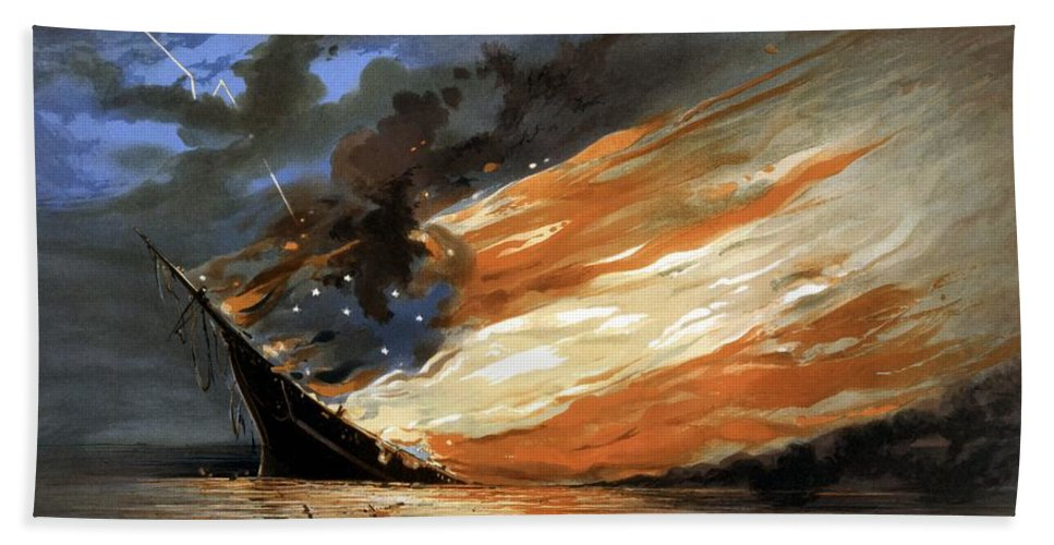 Civil War Beach Towel featuring the painting The Fate Of The Rebel Flag by War Is Hell Store