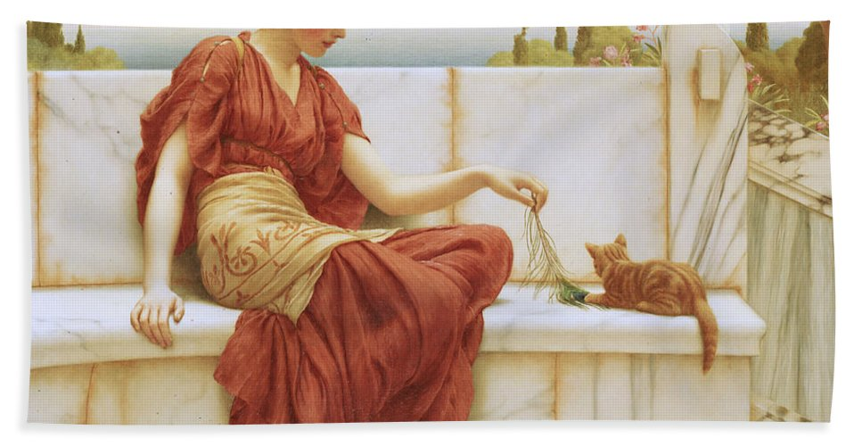 The Favorite Beach Towel featuring the painting The Favorite by John William Godward