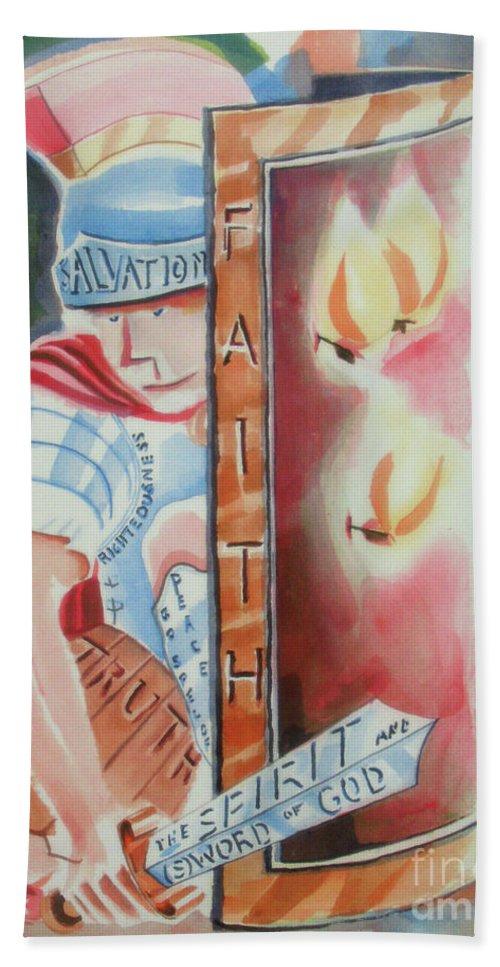 The Fiery Darts Of The Evil One 2 Beach Towel featuring the painting The Fiery Darts Of The Evil One 2 by Kip DeVore