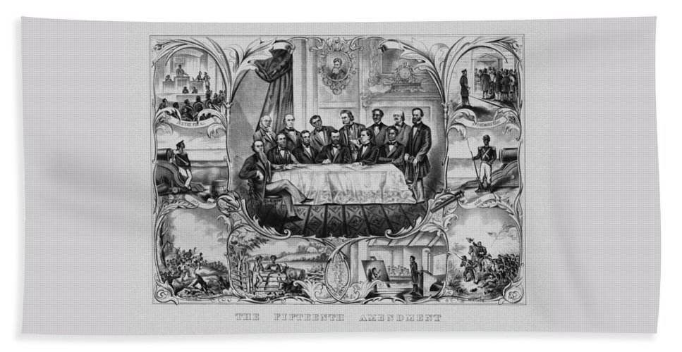 15th Amendment Beach Towel featuring the mixed media The Fifteenth Amendment by War Is Hell Store