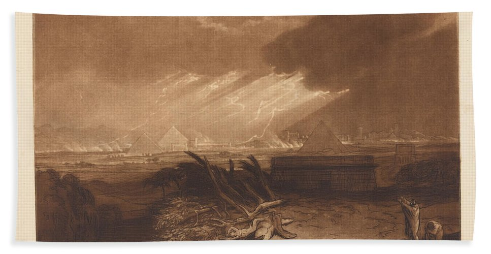 Beach Towel featuring the drawing The Fifth Plague Of Egypt by Joseph Mallord William Turner And Charles Turner