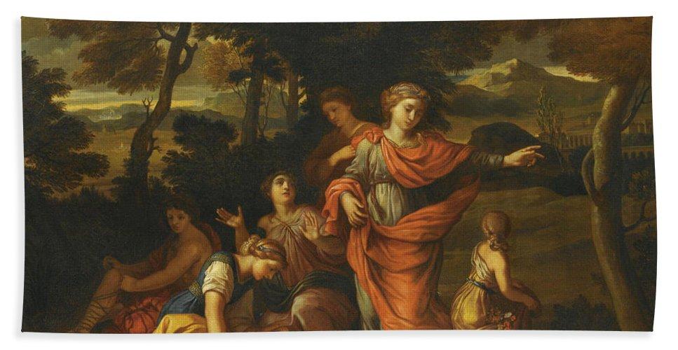 Joseph Parrocel Beach Towel featuring the painting The Finding Of Moses by Joseph Parrocel