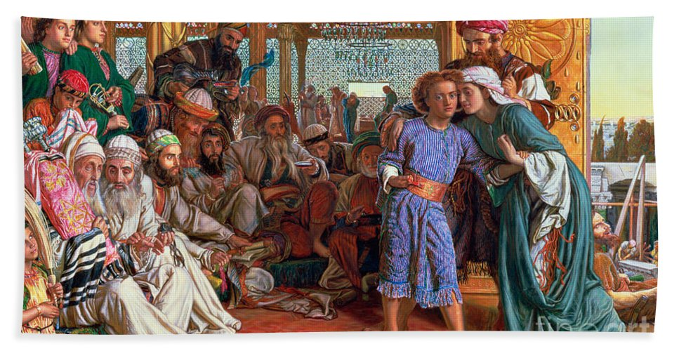 Pre-raphaelite; Passover; Jewish; Elders; Jews; Jesus Christ; Boy; Child; Old Men; Elderly; Elder; And The Lord Beach Towel featuring the painting The Finding Of The Savior In The Temple by William Holman Hunt