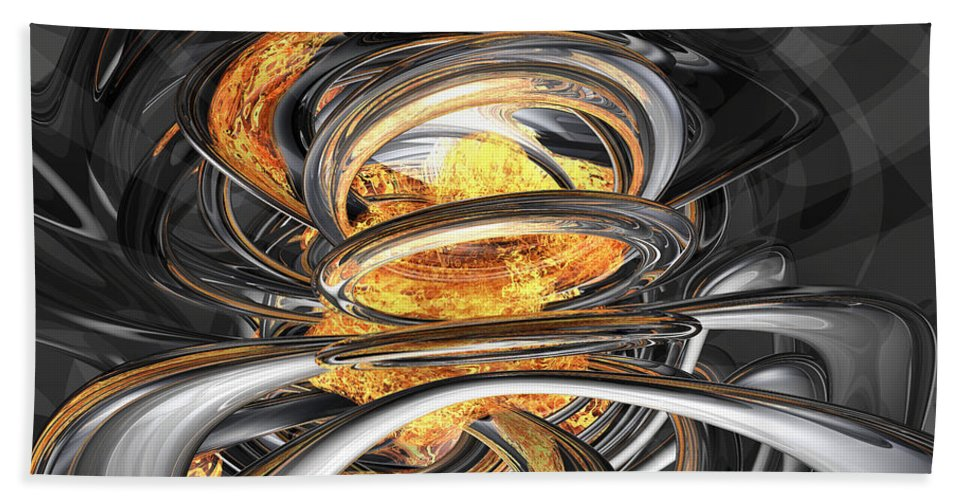 3d Beach Towel featuring the digital art The Fire Within Abstract by Alexander Butler
