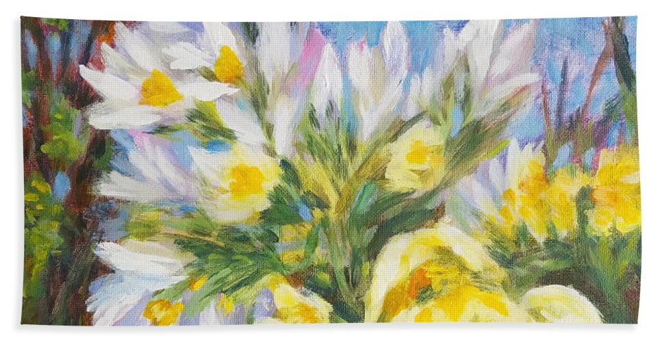 Flowers Beach Towel featuring the painting The First Flowers After Winter by Olga Malamud-Pavlovich