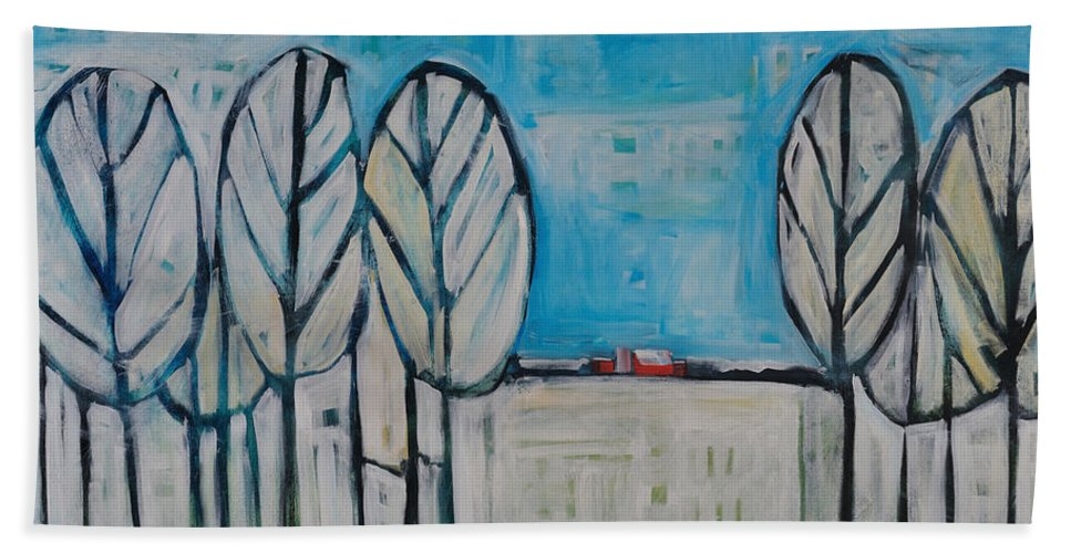 Snow Beach Towel featuring the painting The First Snow by Tim Nyberg