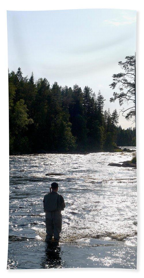 Lehtokukka Beach Towel featuring the photograph The Fisherman by Jouko Lehto