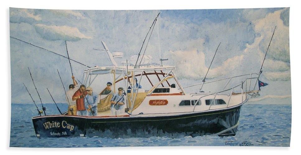 Fishing Beach Towel featuring the painting The Fishing Charter - Cape Cod Bay by Dominic White