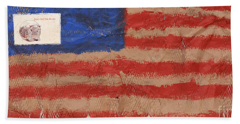 Flag Beach Towel featuring the mixed media The Flag by Jaime Becker