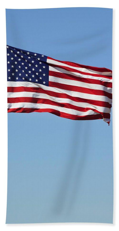 American Beach Towel featuring the photograph The Flag by Ricky Barnard