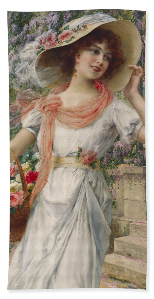 The Flower Girl (oil On Canvas) By Emile Vernon (1872-1919) Flower; Girl; Female; Three-quarter Length; Standing; Bonnet; Hat; Flowers; Selling; Vendor; Basket; Smiling; Carefree; Pretty Beach Towel featuring the painting The Flower Girl by Emile Vernon