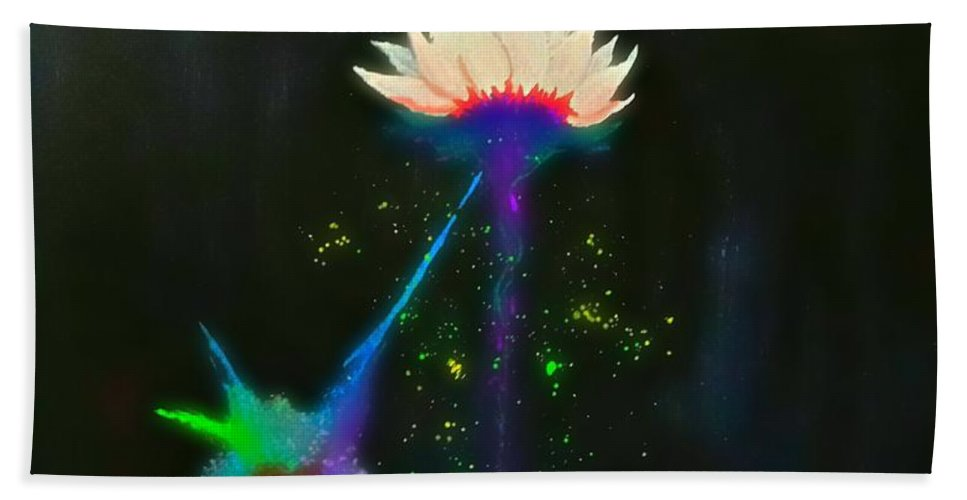 Painting Beach Towel featuring the painting The Flower by Kohdai Kitano