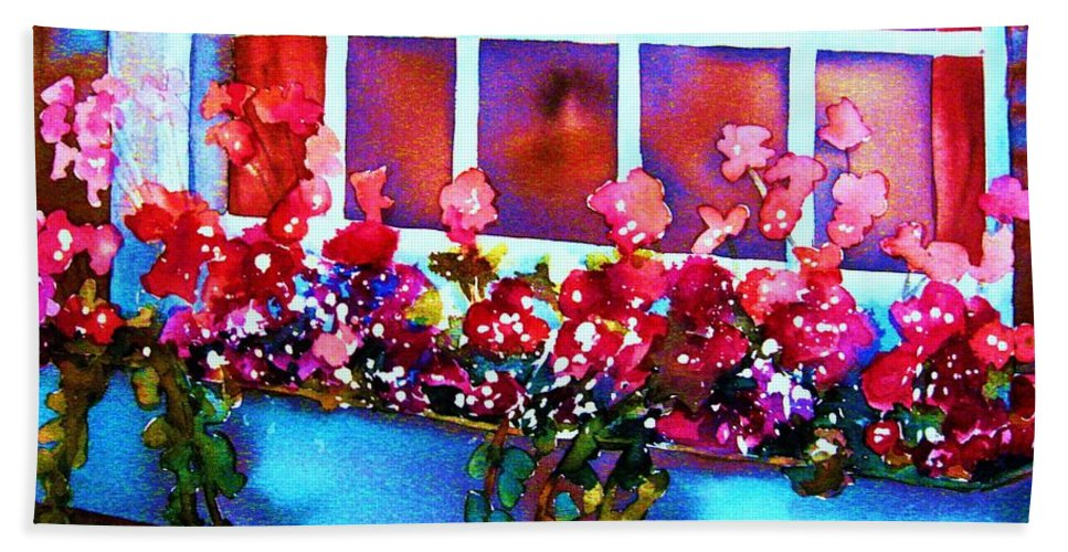 Flowerbox Beach Towel featuring the painting The Flowerbox by Carole Spandau