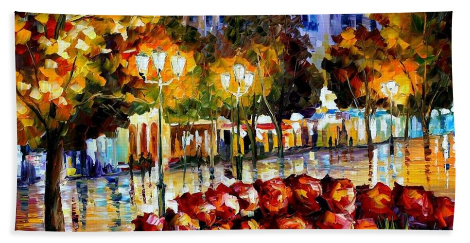 Afremov Beach Towel featuring the painting The Flowers Of Luxembourg by Leonid Afremov