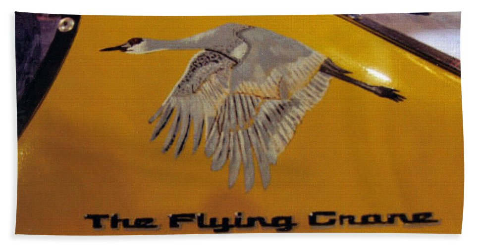 Nascar Beach Towel featuring the painting The Flying Crane by Richard Le Page