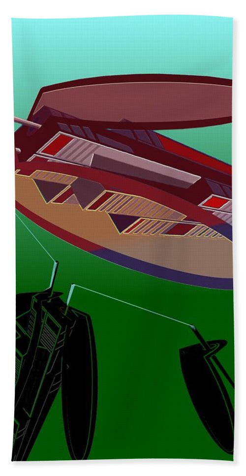 Fly Beach Towel featuring the digital art The Flying Skyscraper by Helmut Rottler