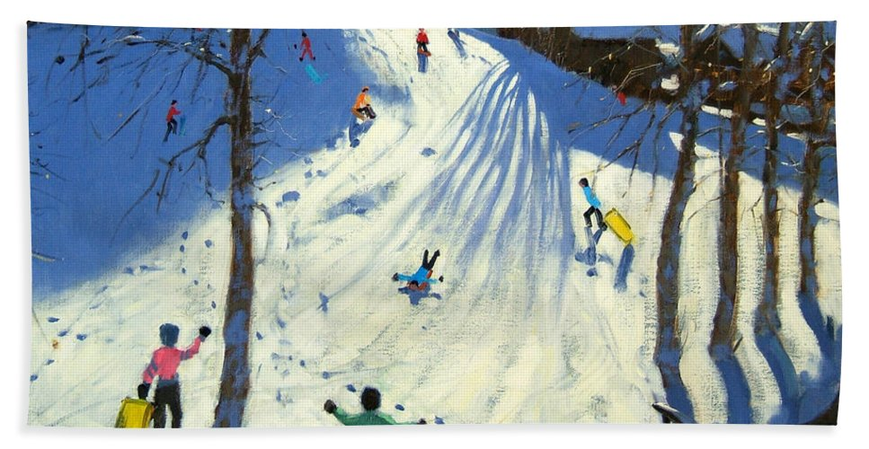 Sledging Beach Towel featuring the painting The Footbridge by Andrew Macara