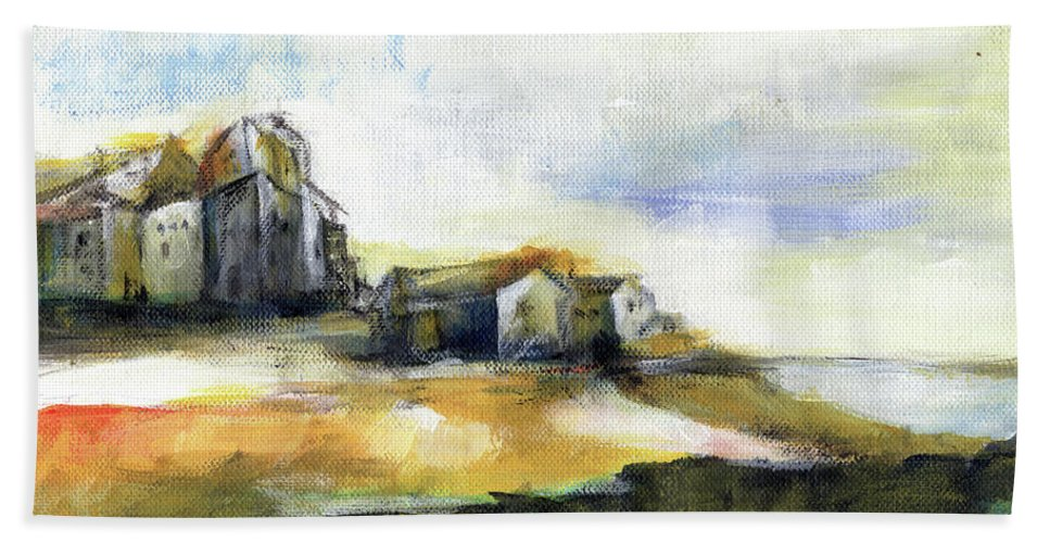 Abstract Landscape Beach Towel featuring the painting The Fortress by Aniko Hencz