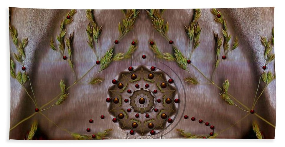 Fountain Beach Towel featuring the mixed media The Fountain Of Life by Pepita Selles
