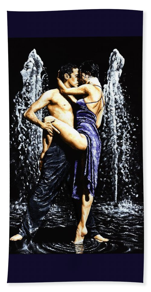 Tango Beach Towel featuring the painting The Fountain of Tango by Richard Young