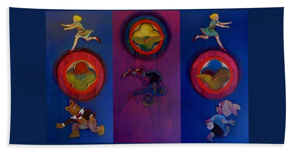 The Drums Of The Fruit Machine Stop At Random. Triptych Beach Sheet featuring the painting The Fruit Machine Stops II by Charles Stuart