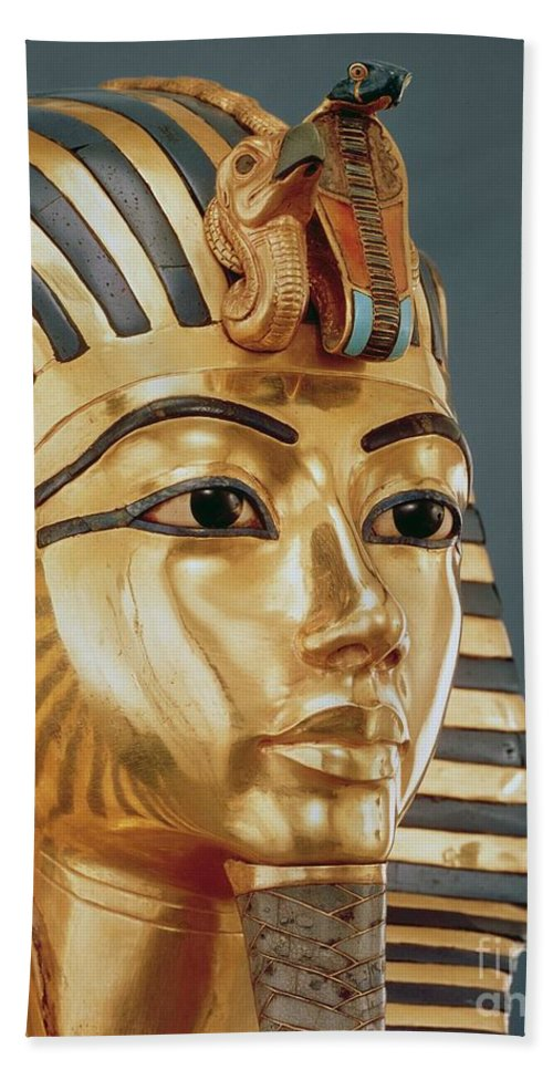 Tut Beach Towel featuring the sculpture The Funerary Mask Of Tutankhamun by Unknown