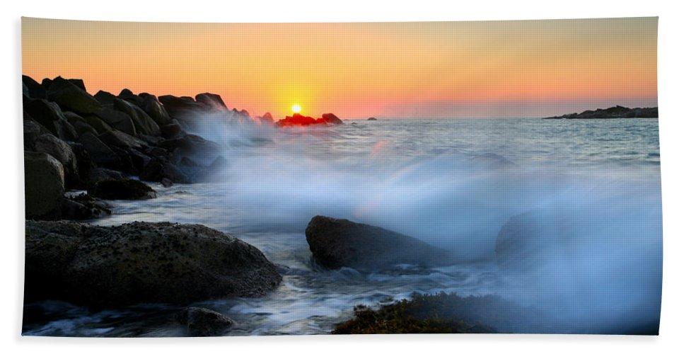 Waves Beach Towel featuring the photograph The Fury Of The Sea by Mike Dawson