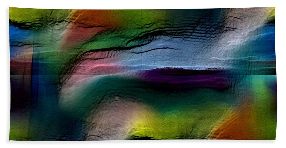 Abstract Beach Towel featuring the digital art The Future Looks Bright by Ruth Palmer