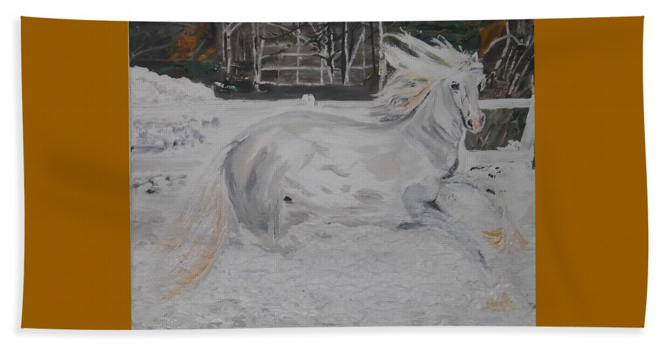 Landscape Beach Towel featuring the painting The Gallop by Denise Morgan