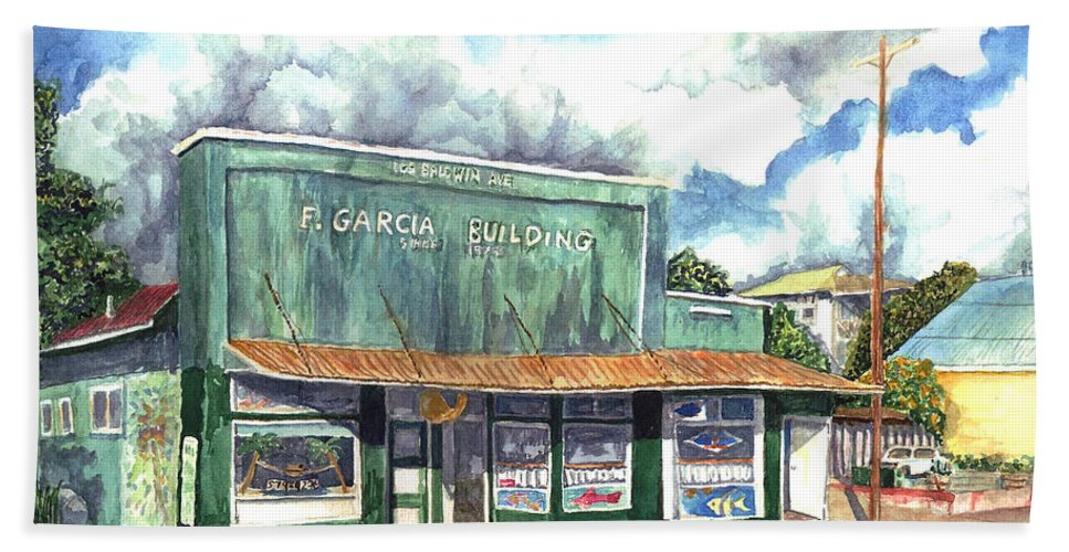 Maui Beach Towel featuring the painting The Garcia Building by Eric Samuelson