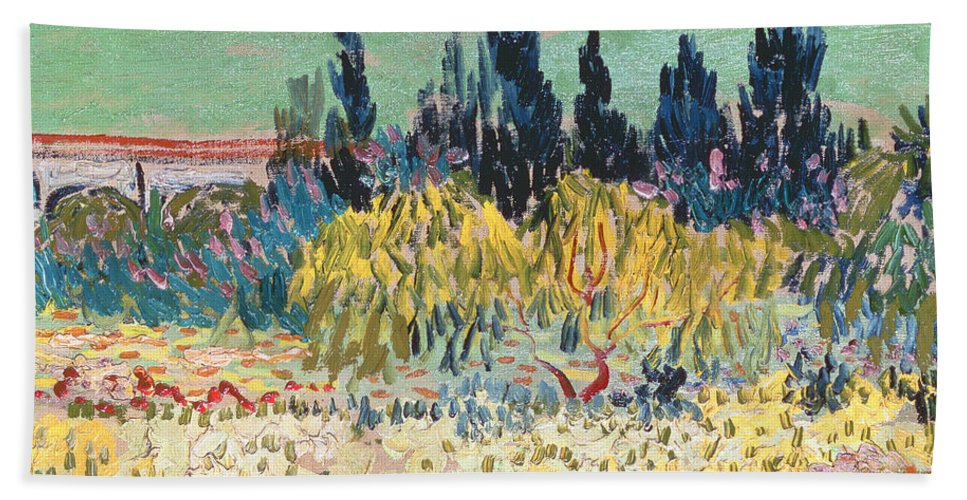 Garden In Bloom Beach Towel Featuring The Painting The Garden At Arles By  Vincent Van Gogh