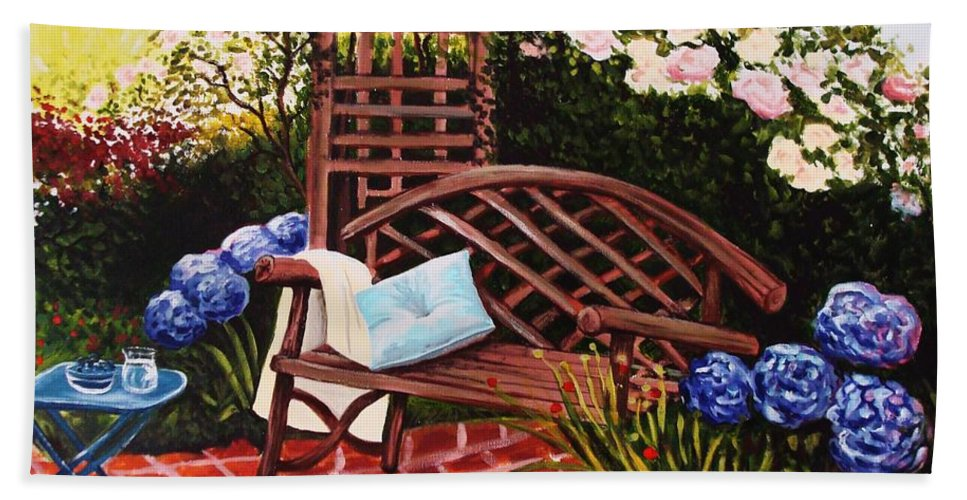 Landscape Beach Towel featuring the painting The Garden by Elizabeth Robinette Tyndall